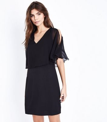Mela Black Overlay Cold Shoulder Dress