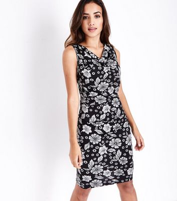 Mela Black Floral Print Cowl Neck Dress