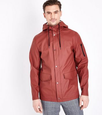 Rust Hooded Rain Coat