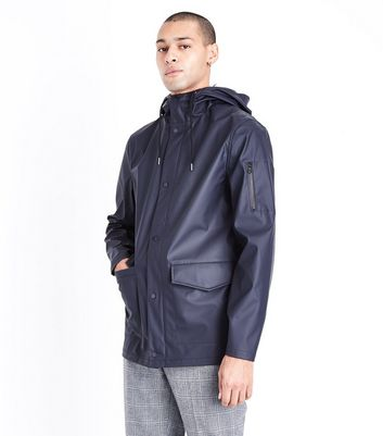 Navy Hooded Rain Coat