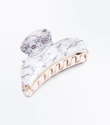 Rose Gold and Marble Bulldog Clip