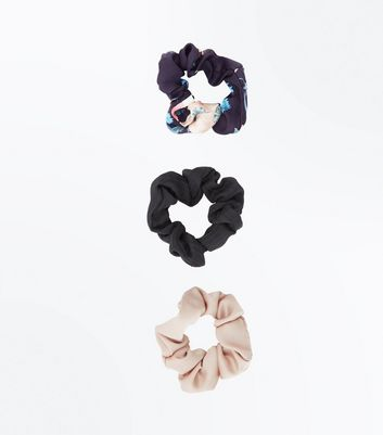 3 Pack Pale Pink Floral Scrunchies