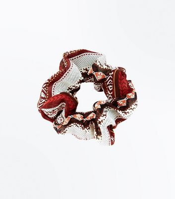 Red Aztec Print Scrunchie
