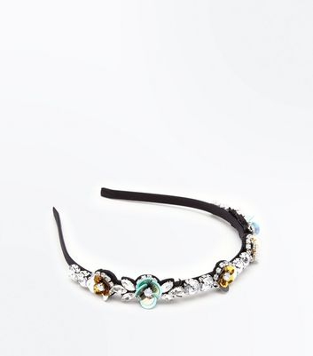 Black Sequin and Gem Embellished Hair Band