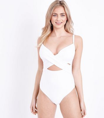 White DD-G Underwired Cross Front Swimsuit