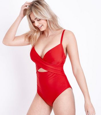 Red Underwired Cross Front Swimsuit