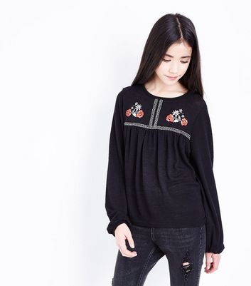 Teens Black Floral Embroidered Cross Stitch Top
