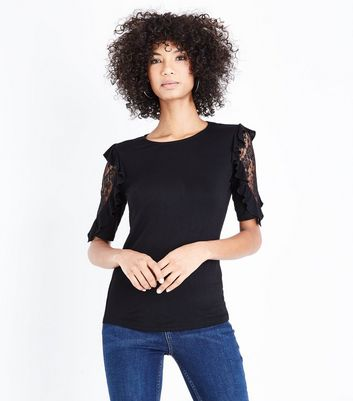 Black Lace Frill Sleeve T-Shirt