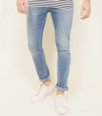 Pale Blue Vintage Wash Slim Fit Jeans