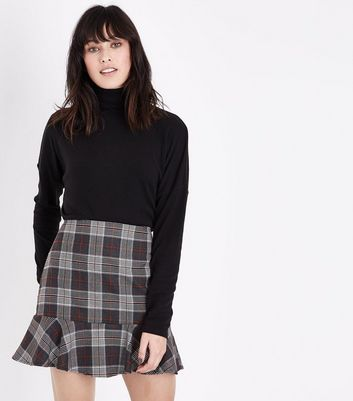 Parisian Brown Check Print Peplum Hem Skirt