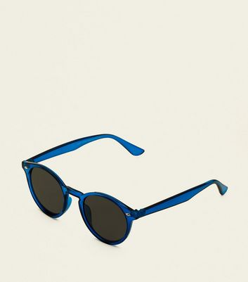 Bright Blue Round Tinted Sunglasses