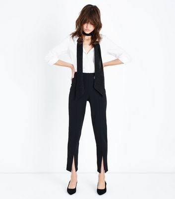 Cameo Rose Black Split Front Trousers