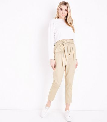 Tall Stone Cotton Paperbag Waist Trousers