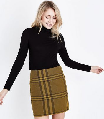 Petite Yellow Wide Check Jersey Tube Skirt