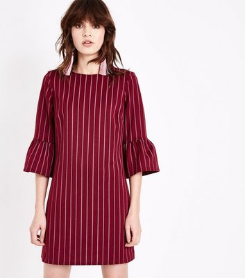 Burgundy Pinstripe Bell Sleeve Tunic Dress