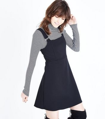 Black Crepe Scuba Pinafore Dress