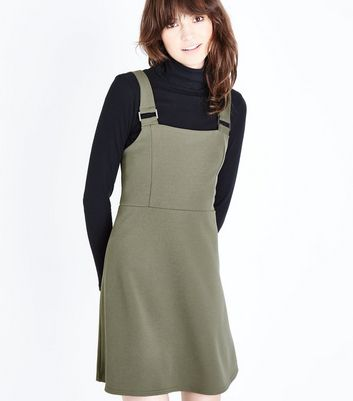 Khaki Crepe Scuba Pinafore Dress