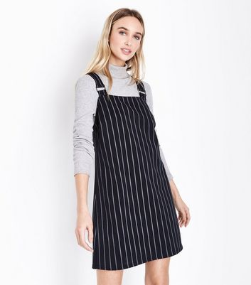 Black Pinstripe Pinafore Dress