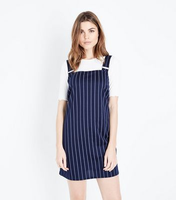 Navy Pinstripe Pinafore Dress