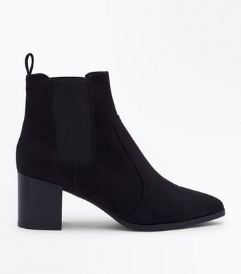 Black Suedette Pointed Heeled Chelsea Boots
