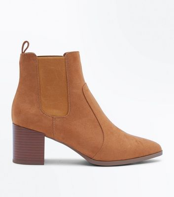 Tan Suedette Pointed Heeled Chelsea Boots