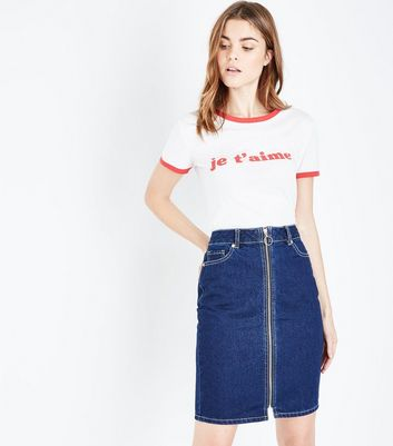 Blue Rinse Wash Zip Front Denim Midi Skirt
