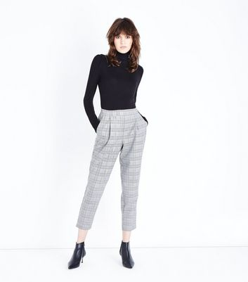 Grey Prince of Wales Check High Waist Trousers