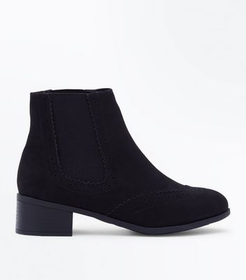 Teens Black Suedette Brogue Chelsea Boots by New Look