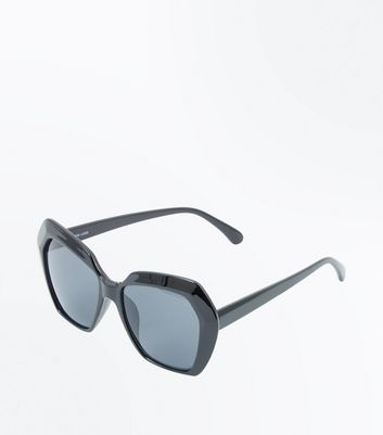 Black Angular Lens Oversized Sunglasses