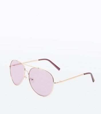 Dark Purple Lense Pilot Sunglasses