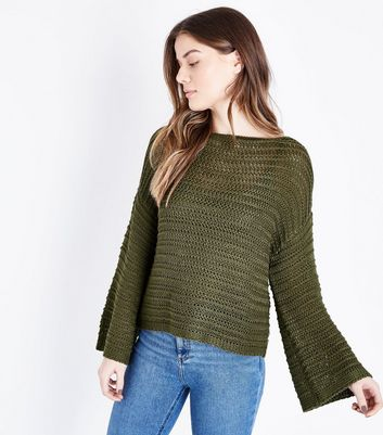 Khaki Flared Sleeve Drop Stitch Jumper