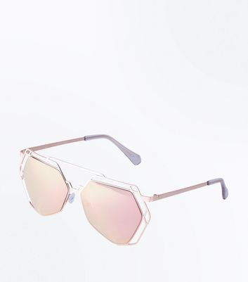 Rose Gold Hexagon Lens Sunglasses