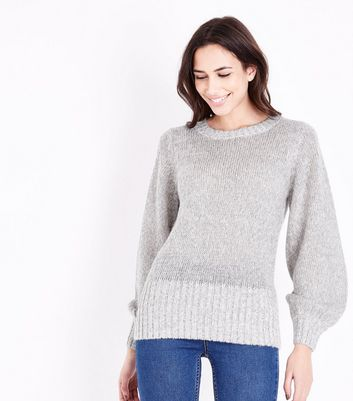 Pale Grey Balloon Sleeve Jumper