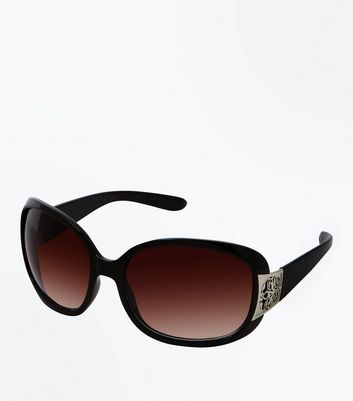 Black Ombré Embossed Edge Sunglasses