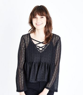 Black Lace Knit Lattice Front Top