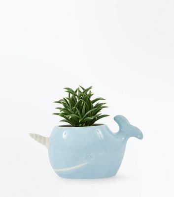 Blue Ceramic Narwhal Artificial Plant