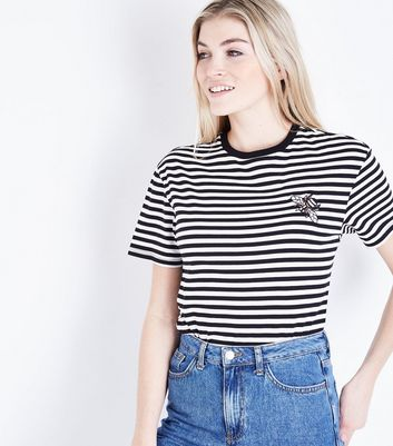 Black Stripe Bee Embroidered T-Shirt