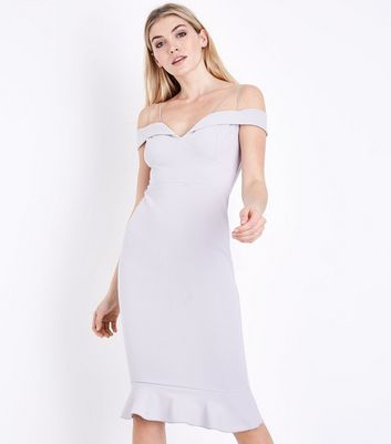 AX Paris Silver Sweetheart Neck Frill Hem Dress