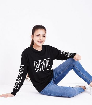 Teens Black NYC Queens Bronx Slogan Sweatshirt