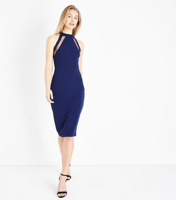 Ax Paris Navy Mesh Panel Strappy Midi Dress by New Look