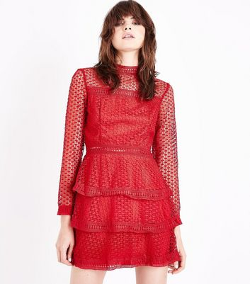 AX Paris Red Tiered Crochet Dress