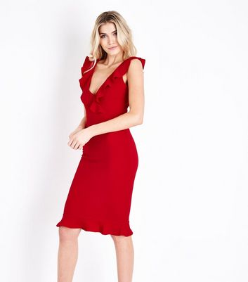 AX Paris Red V Neck Frill Front Midi Dress