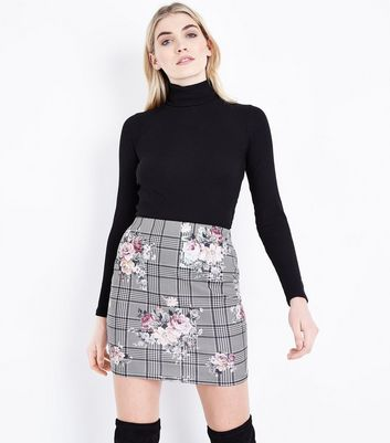 Black Floral Print Check Skirt