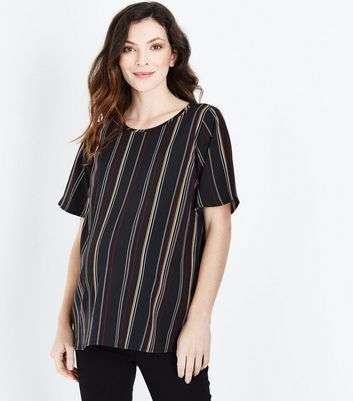 Maternity Black Contrast Stripe Top