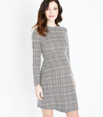Maternity Black Check Long Sleeve Dress