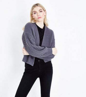 Dark Grey Pointelle Balloon Sleeve Cardigan