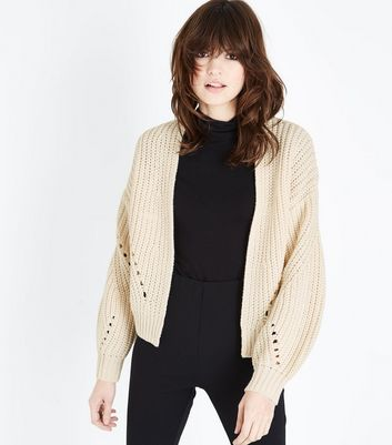 Cream Pointelle Balloon Sleeve Cardigan