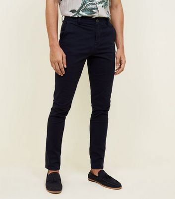 Navy Skinny Stretch Chino Trousers