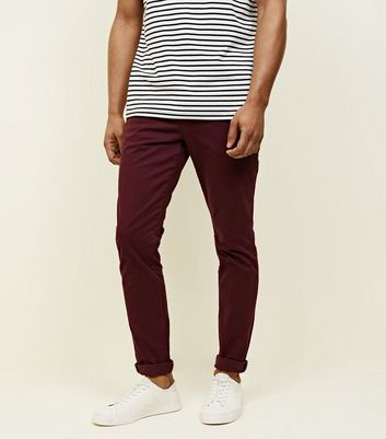 Weinrote Stretch-Chino in schmaler Passform