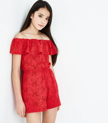 Teenager – Roter Bardot-Playsuit aus Spitze